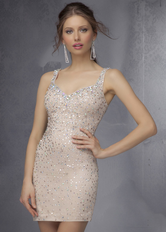 7e1c13adfe3 Nude Fitted Straps Sheer Beaded Back Homecomging Dress 2015  Mori ...