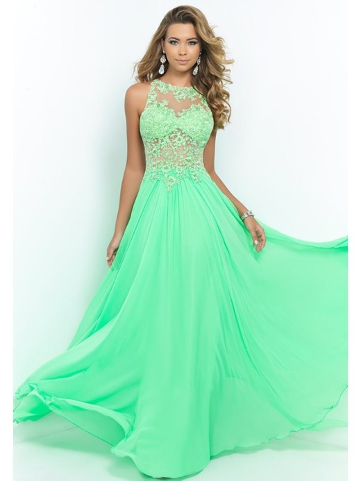 A-Line/Princess Scoop Sleeveless Chiffon Applique Floor-Length Dresses