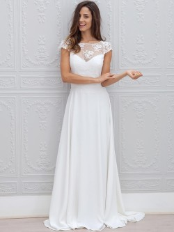 A-Line/Princess Short Sleeves Scoop Chiffon Lace Sweep/Brush Train Wedding Dresses