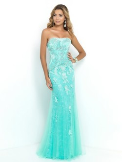 Trumpet/Mermaid Strapless Sleeveless Applique Floor-length Tulle Dresses