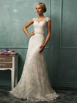 Trumpet/Mermaid V-neck Sleeveless Sash/Ribbon/Belt Chapel Train Lace Wedding Dresses