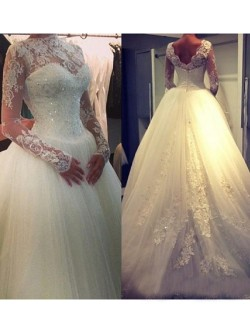 A-line/Princess High Neck Long Sleeves Beading Court Train Organza Wedding Dress