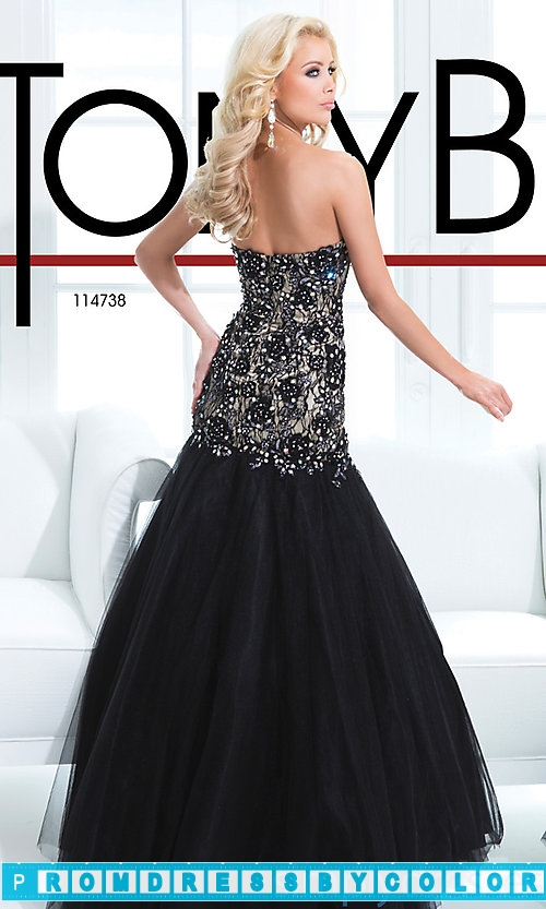 203 Red Prom Dresses – Black Floor Length Strapless Sweetheart Gown at www.promdressbycolor.com