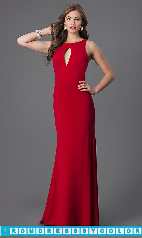 259 Red Prom Dresses – Floor Length Red Sleeveless Dress with Drape Back at www.promdressbycolor.com