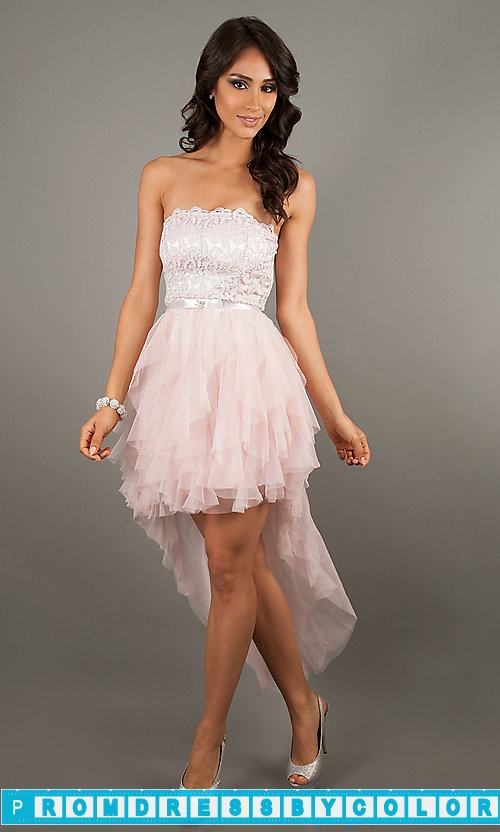 145 Red Prom Dresses – High Low Strapless Lace Dress by LA Glo at www.promdressbycolor.com