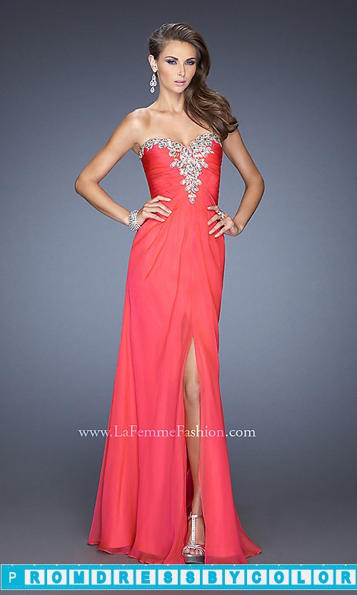 173 Red Prom Dresses – Long Strapless Chiffon Formal Gown at www.promdressbycolor.com