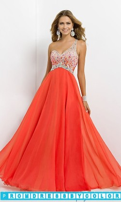 194 Red Prom Dresses – Open Back Beaded One Shoulder Gown by Blush 9726 at www.promdressbycolor.com