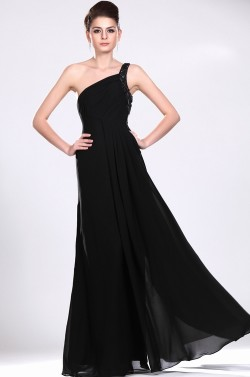 135 Red Prom Dresses – Pleating One Shoulder Floor Length Chiffon A Line Black Evening Dress at www.promdressbycolor.com