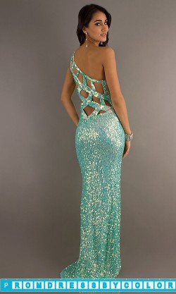 194 Red Prom Dresses – Primavera One Shoulder Sequin Open Back Gown at www.promdressbycolor.com