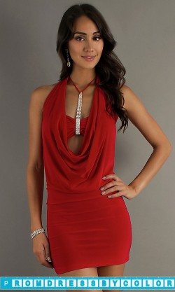 149 Red Prom Dresses – Sexy Red Short Dress with Halter Top at www.promdressbycolor.com