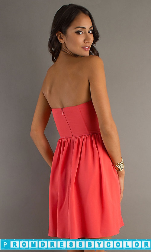149 Red Prom Dresses – Short Strapless Orange Sequin Dress at www.promdressbycolor.com