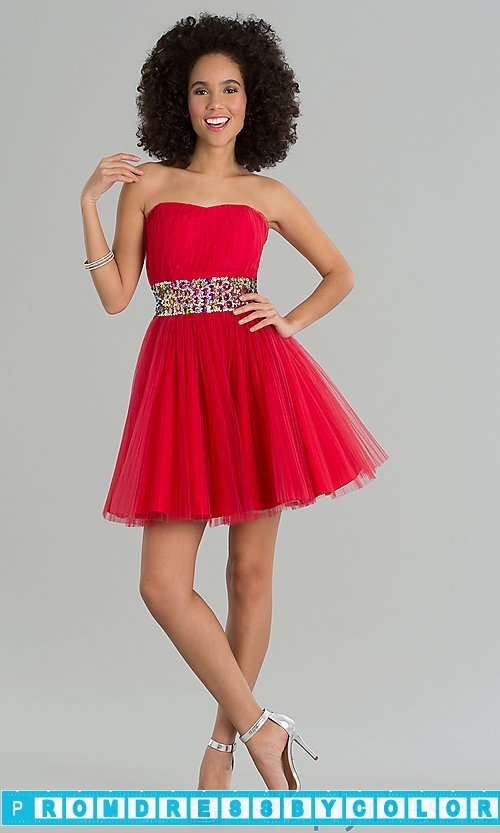 149 Red Prom Dresses – Short Strapless Prom Dress at www.promdressbycolor.com