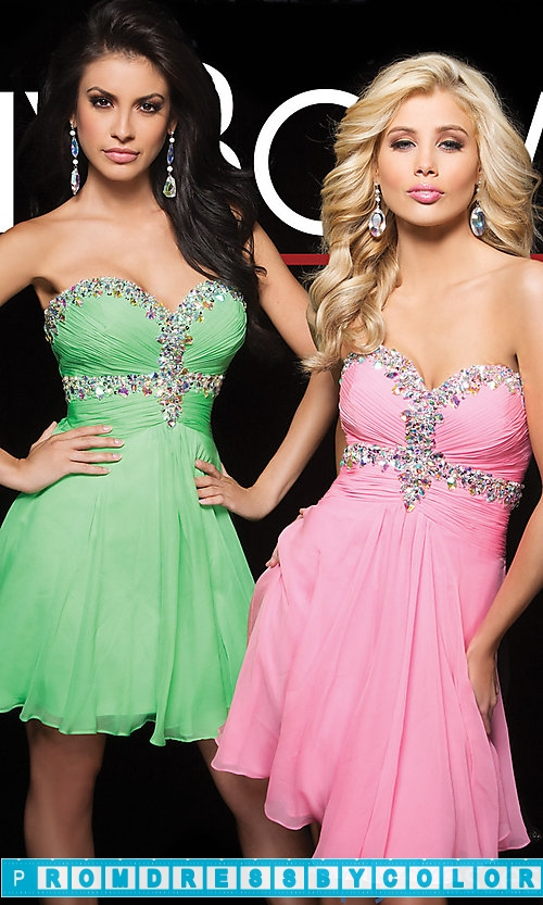 149 Red Prom Dresses – Short Strapless Sweetheart Tony Bowls Dress at www.promdressbycolor.com