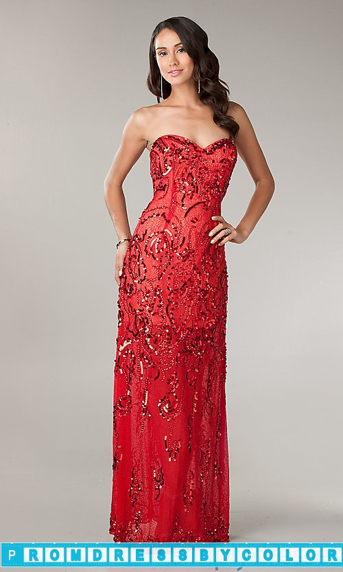 203 Red Prom Dresses – Strapless Red Sequin Prom Dress at www.promdressbycolor.com