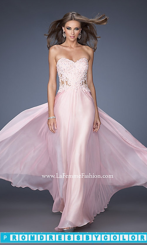203 Red Prom Dresses – Strapless Sweetheart Long La Femme Prom Dress at www.promdressbycolor.com