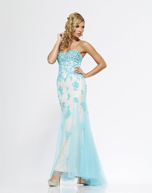 174 Red Prom Dresses – Sweetheart Tulle Sheath Column Floor Length Blue Evening Dress at www.promdressbycolor.com