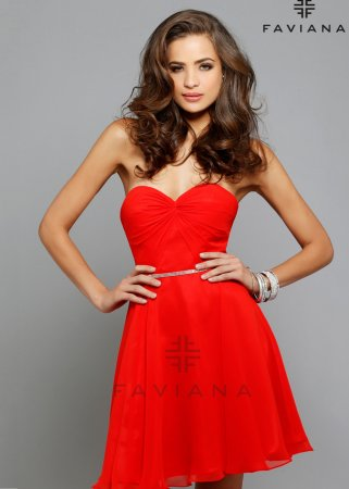 Red Strapless Faviana 7654 Beaded Waist Classic Short Homecoming Dress [new-dress-0027] – $155.00 : Cute New Arrival Style Homecoming Prom Dresses Online For 2015 Party