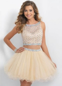 2015 Sand Sparkly Beaded Blush 10054 Two Piece Cocktail Dress [new-dress-0046] – $230.00 : Cute New Arrival Style Homecoming Prom Dresses Online For 2015 Party