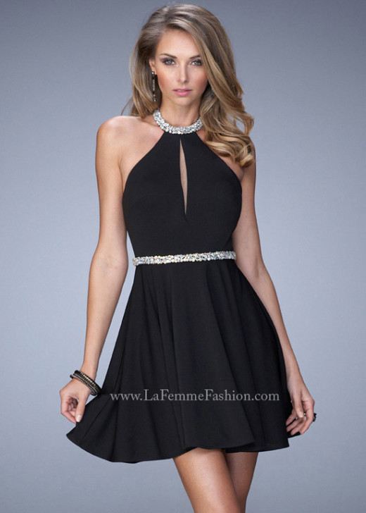 Sexy Beaded Halter Neck Keyhole Front Open Back Little Black Dress [La Femme 22016 Little Black] – $165.00 : The Last Fashion Prom Dresses 2015 Online For Trends