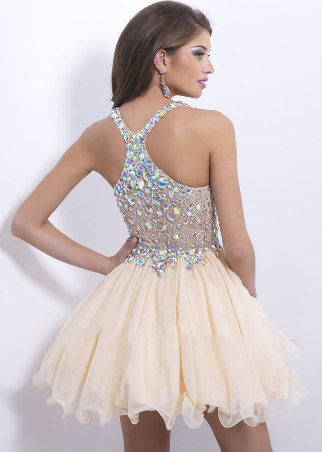 2015 Sexy Deep V Neck Crystal Jewels Straps Champagne Prom Dress