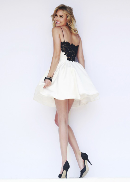 Black and White Lace Short Prom Dresses