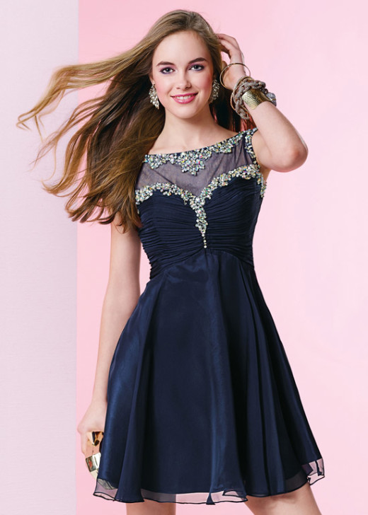 Short Illusion Beaded Ruced Bodice Midnight Blue Chiffon Party Dress [Alyce 3665 Midnight Blue] – $182.00 : Short Homecoming Dresses For Party From www.homecoming2016.com
