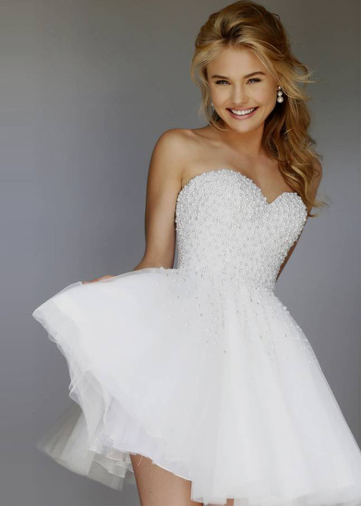 2015 Short Strapless Lovely Ivory Pearl Beaded Bodice Party Dress [Sherri Hill 11312 Ivory] – $198.00 : Hot Trends Homecoming Dresses,Prom Dress,Wedding Dress,Bridesmaid Dresses,Prom Shoes For Prom & Homecoming 2015 On Sale