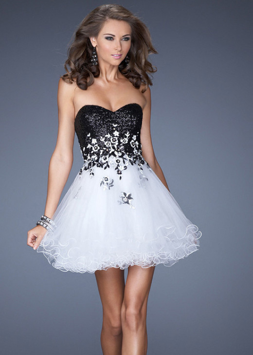 Short Strapless Sequined Bodice Flowers Ruffled Black White Prom Dress [La Femme 19748 Black White] – $176.00 : Short Homecoming Dresses For Party From www.homecoming2016.com