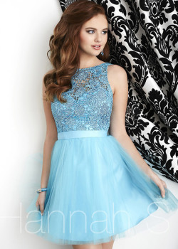 Short Sweet Scoop Neck Lace Bodice Satin Belt Open Back River Blue Dress [Hannah S 27052 River Blue] – $172.00 : Short Homecoming Dresses For Party From www.homecoming2016.com