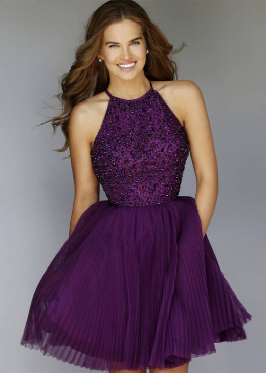 Sparkly Pleated Purple High Neck Beaded Bodice Open Back Party Dress [Sherri Hill 32335 Purple] – $203.00 : Hot Trends Homecoming Dresses,Prom Dress,Wedding Dress,Bridesmaid Dresses,Prom Shoes For Prom & Homecoming 2015 On Sale