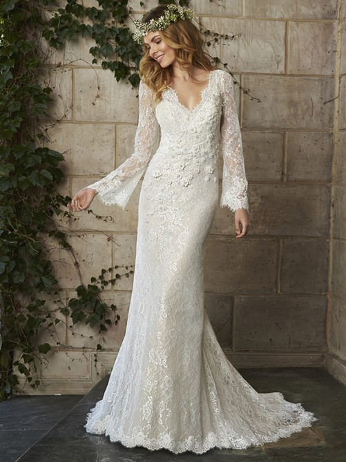 Trumpet/Mermaid Long Sleeves V-neck Lace Applique Court Train Wedding Dresses – Wedding Dresses