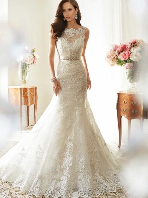 Trumpet/Mermaid Scoop Sleeveless Tulle Chapel Train Applique Wedding Dresses – Wedding Dresses
