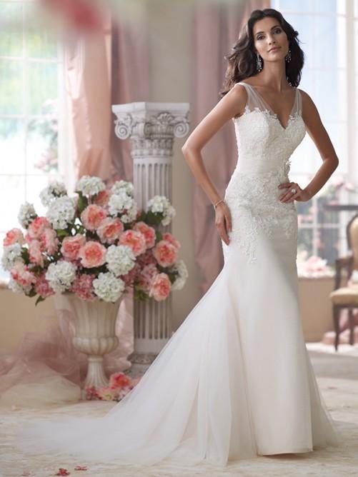 Trumpet/Mermaid Sleeveless V-neck Tulle Applique Court Train Wedding Dresses – Wedding Dresses
