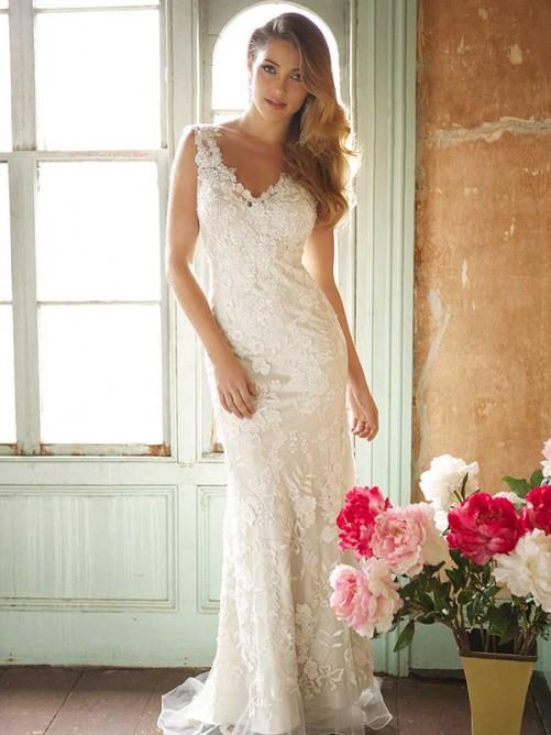 Trumpet/Mermaid V-neck Sleeveless Sweep/Brush Train Lace Wedding Dresses – Wedding Dresses