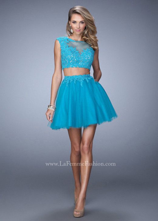 Turquoise Two Piece Cute Beaded Lace Applique Illusion Cocktail Dress [La Femme 21878 Turquoise] – $175.00 : Prom Dress 2015 Online,Under 200 Dresses For Homecoming