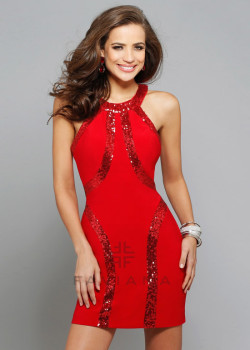 Unique Sequined Red Jersey Halter Neck Sexy Back Homecoming Dress [Faviana 7661 Red] – $168.00 : Short Homecoming Dresses For Party From www.homecoming2016.com