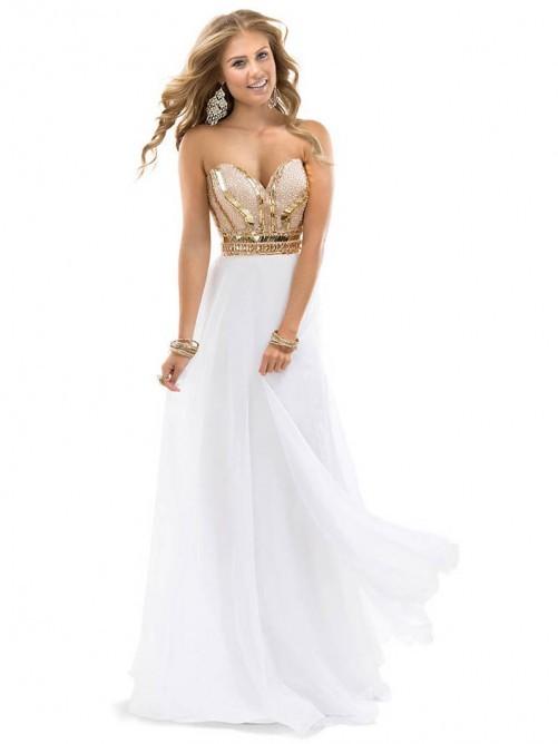 Empire Sleeveless Sweetheart Chiffon Beading Floor-length Dresses