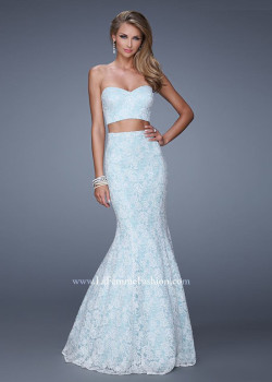 White Mint Lovely Two Piece Strapless Lace Mermaid Long Prom Dress [La Femme 21096 White Mint] – $220.00 : The Last Fashion Prom Dresses 2015 Online For Trends