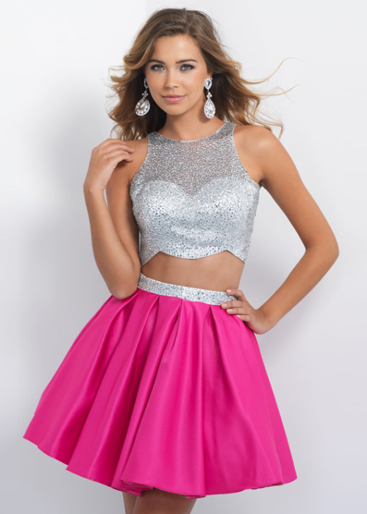 A Line Two Piece Beaded Silver Hot Pink Satin Homecoming Dress 2015 [Blush Prom 10075 Silver Hot Pink] – $185.00 : Hot Trends Prom Dresses 2015 On Store For Girls