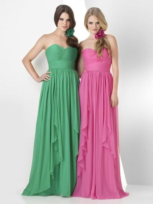 A-Line Sweetheart Sleeveless Pleats Chiffon Floor-Length Bridesmaid Dress