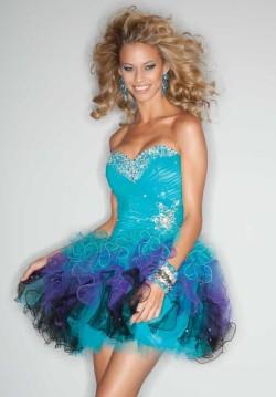 Beaded Multi Color Short Ruffle Cocktail Dress Mori Lee 9199 [short prom dresses] – $182.00 : www.cutehomecomingdresses2015.com