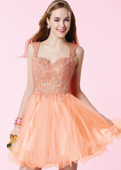 Beautiful Beaded Lace Appliques Lace Up Back Coral Cocktail Dress [Alyce 3648 Coral] – $192.00 : Cheap Fall 2015 Homecoming Prom Dresses For Girl Online,Under $200
