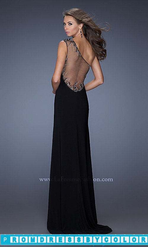 180 Black Prom Dresses – Long One Shoulder La Femme Dress at www.promdressbycolor.com