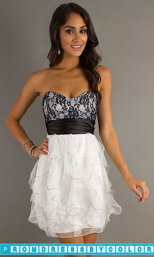 149 Black Prom Dresses – Short Strapless Prom Dress by LA Glo at www.promdressbycolor.com