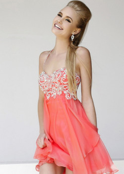 2014 Coral Halter Neck Beaded Layered Short Prom Dress [Sherri Hill 3878 Coral] – $176.00 : Buy Homecoming Dresses 2015 Online,60% off Dresses For Prom,Bridesmaid Dresses,Prom Shoes,Summer Dresses & Sunglasses 2015 at Thepromtrend2015.com