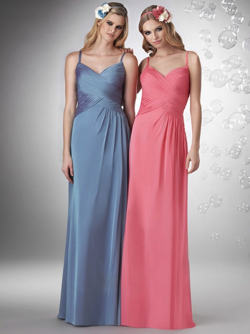 Cute Princess Spaghetti Strap Sleeveless Floor-Length Chiffon Bridesmaid Dress