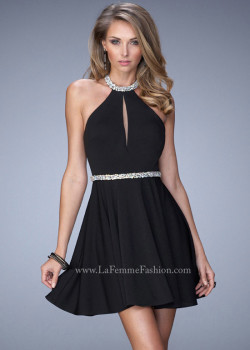 Dazzling Stones Halter Neck Keyhole Bodice Open Back Black Party Dress [La Femme 22016 Little Black] – $165.00 : Prom Dress 2015 Online,Under 200 Dresses For Homecoming