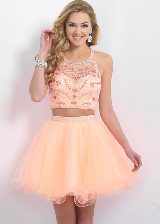 0bb07eb73e9 2015 Fashion Two Piece Beaded Straps Back Cantaloup Homecoming Dress ...