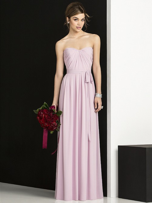 Glamorous A-Line Sleeveless Sweetheart Floor-Length Chiffon Bridesmaid Dress