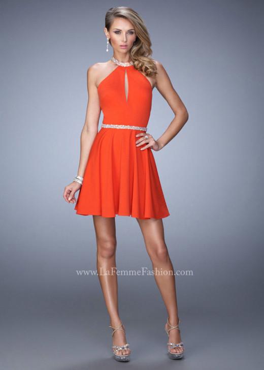 Halter Neck Small Keyhole Bodice Open Back Dark Papaya Homecoming Dress [La Femme 22016 Dark Papaya] – $165.00 : Prom Dress 2015 Online,Under 200 Dresses For Homecoming